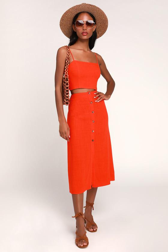 b3432a870 Cute Red Orange Midi Skirt - Button-Up Skirt - 2-Piece Dress