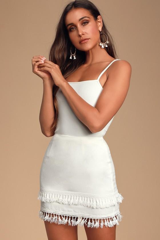 cf8fdffe62 Lulus Ivory Skirt - Tassel Skirt - White Mini Skirt - Mini Skirt