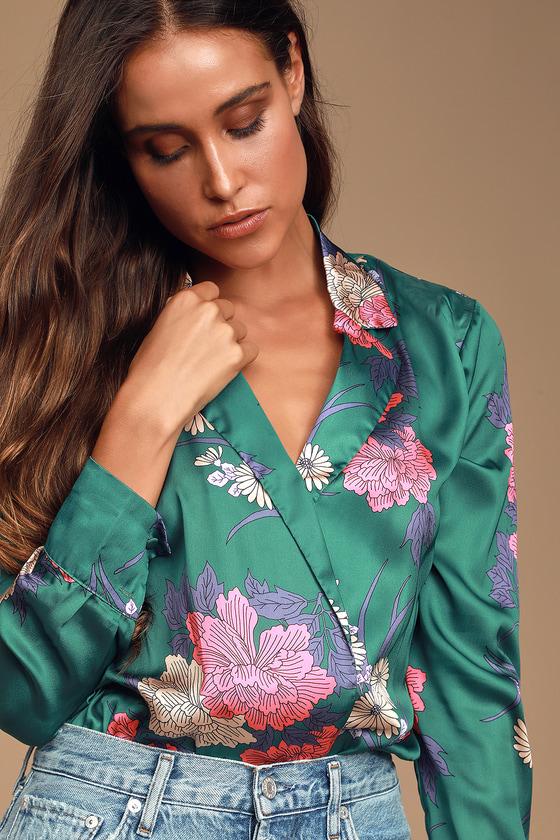 7f658367c7c3 Chic Teal Green Floral Print Bodysuit - Floral Satin Bodysuit
