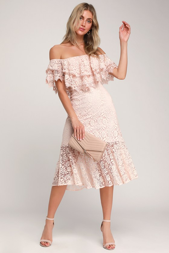 70ec010fcecb Lovely Blush Pink Lace Dress - Off-the-Shoulder Dress Midi Dress