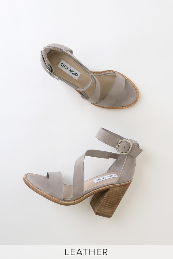 Leather Light Suede Strap Collins Heels Ankle Grey 3A54RjqL