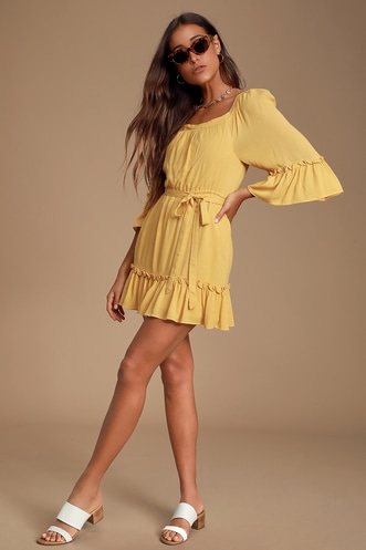 591062d2ed1b Gauze and Effect Yellow Ruffled Three-Quarter Sleeve Mini Dress