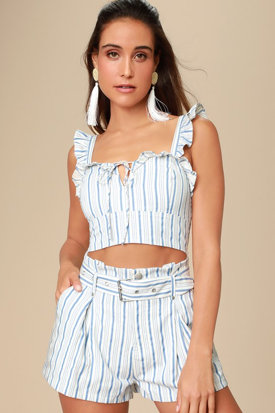 Surfs Up Blue and White Striped Belted Shorts - Trendy Summer Outfits
