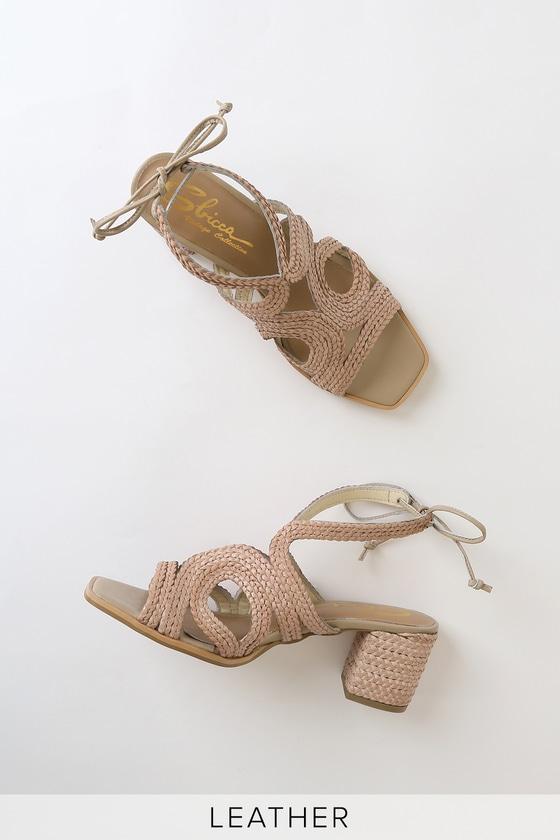 Vintage Sandal History: Retro 1920s to 1970s Sandals Carthage Natural Leather Woven Lace-Up Heels - Lulus $42.00 AT vintagedancer.com