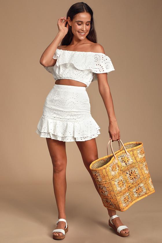 58c0fabaa Cute White Skirt - White Eyelet Skirt - Ruffled White Skirt - Set