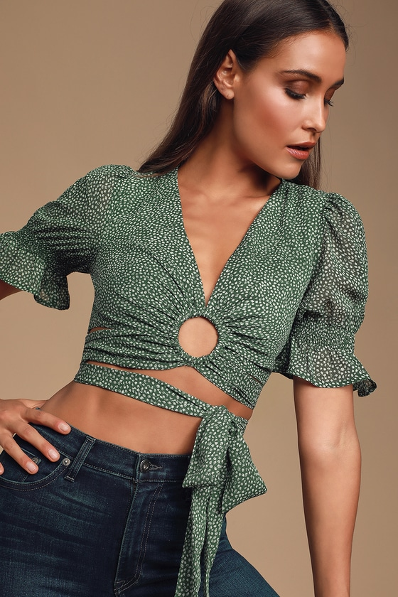 Ariel Green Polka Dot Cropped Wrap Top - Green Polka Dot Outfit