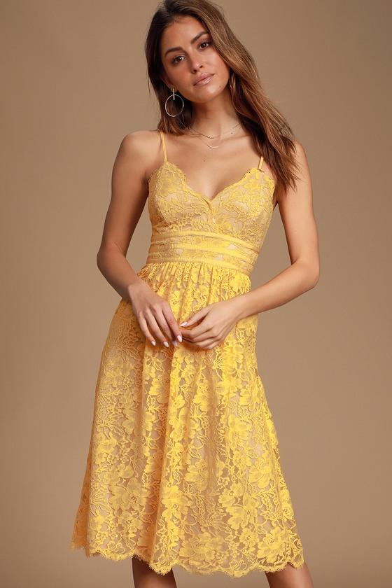 Treasure Me Mustard Yellow Lace Midi Dress