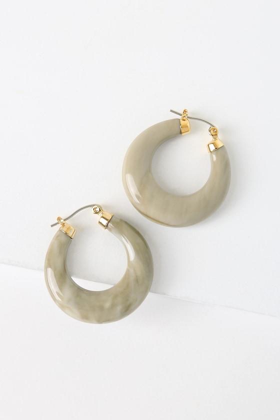 Charlesa Beige Small Hoop Earrings by Lulus