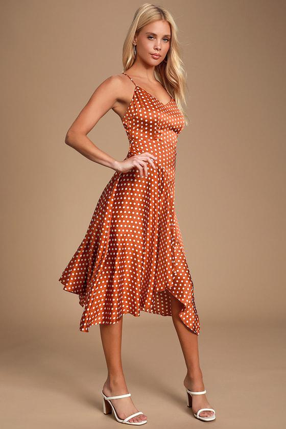 517ba4f4b4 Rust Brown Polka Dot Dress - Midi Dress - Handkerchief Dress