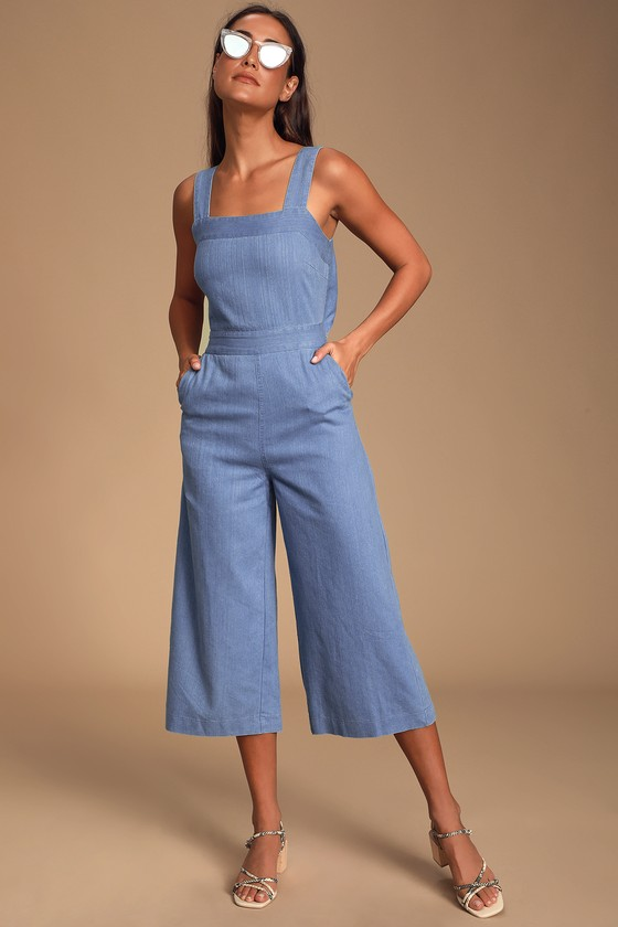 Vintage Overalls 1910s -1950s History & Shop Overalls Whilo Light Blue Chambray Tie-Back Culotte Jumpsuit - Lulus $62.00 AT vintagedancer.com