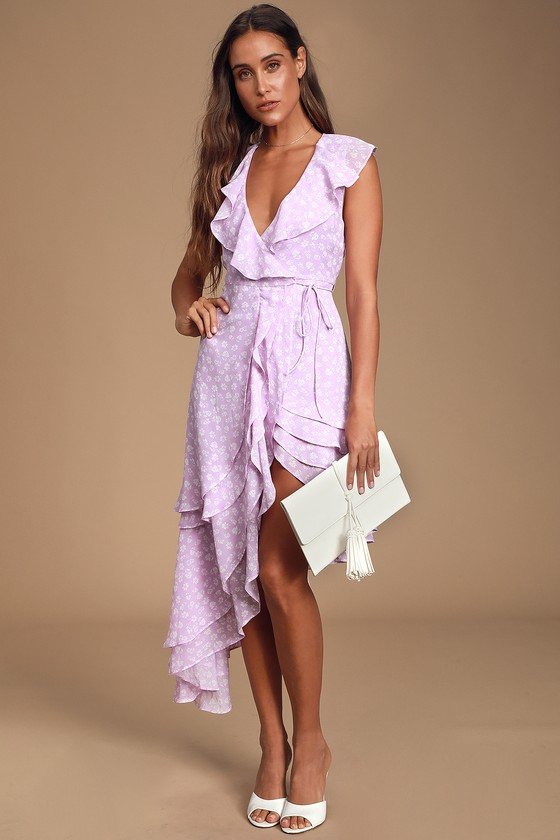 4be440828f47 Cute Lavender Floral Print Dress - Ruffled Dress - Wrap Dress