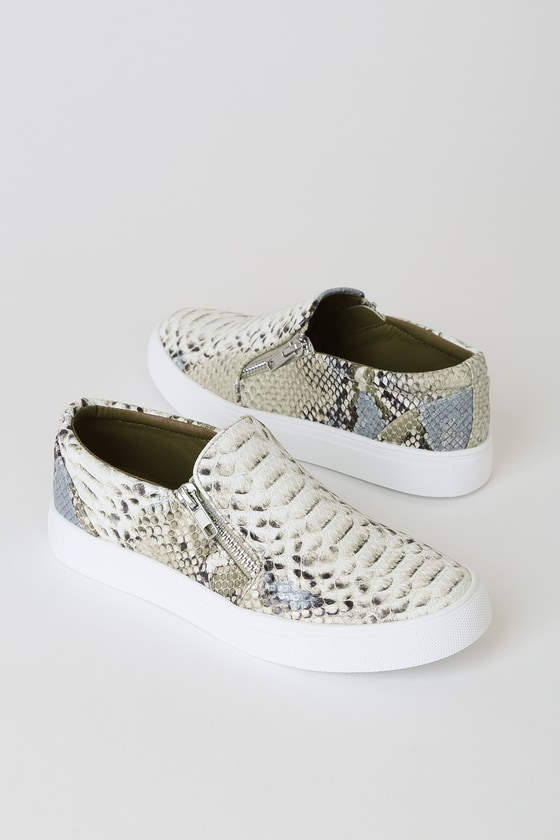 Annora Natural Multi Snake Sneakers - Animal Print Cothing