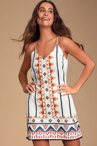 f60feeeada Lidia White Multi Embroidered Sleeveless Shift Dress