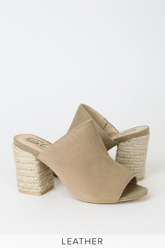 Harmonee Natural Suede Leather Peep Toe Espadrille Mules by Sbicca