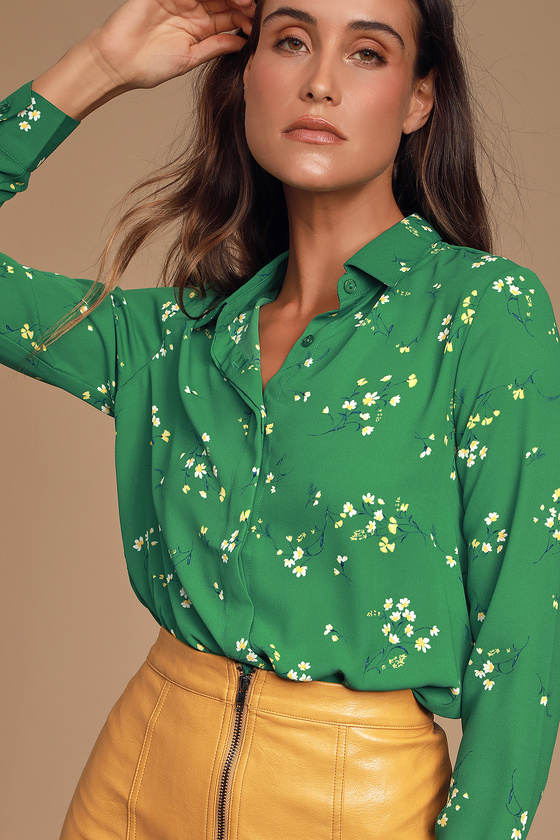 Women's 70s Shirts, Blouses, Hippie Tops Passion Green Floral Print Long Sleeve Top - Lulus $49.00 AT vintagedancer.com