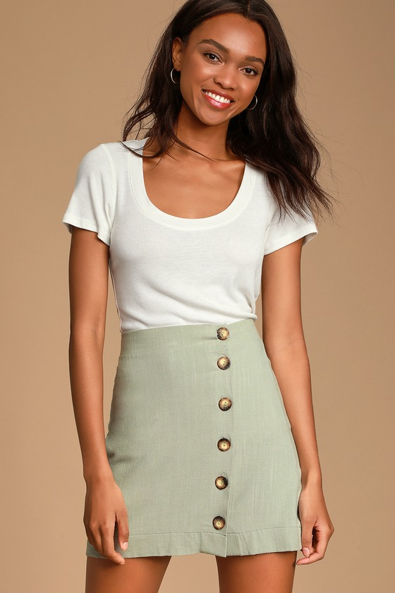 d115bdd209e5 Cute Sage Green Skirt - Button Front Skirt - Mini Skirt