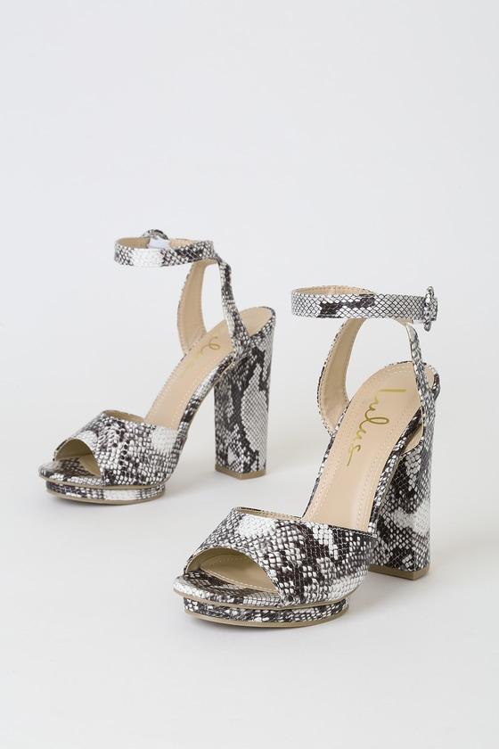 a3dda13c8b00 Lovely Snake Print Heels - Vegan leather Heels - Platform Heels
