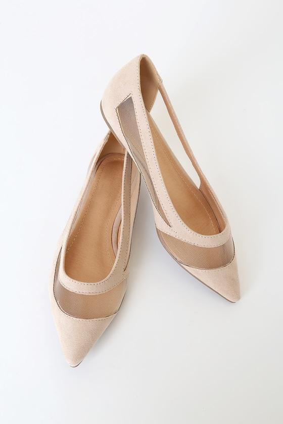 Cute Nude Flats - Pointed Toe Flats