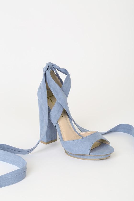 5aee53b3883 Shoptagr | Dorian Slate Blue Suede Lace Up Platform Heels by Lulus
