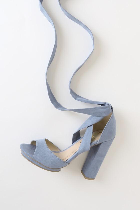 1175b82af56 Dorian Slate Blue Suede Lace-Up Platform Heels