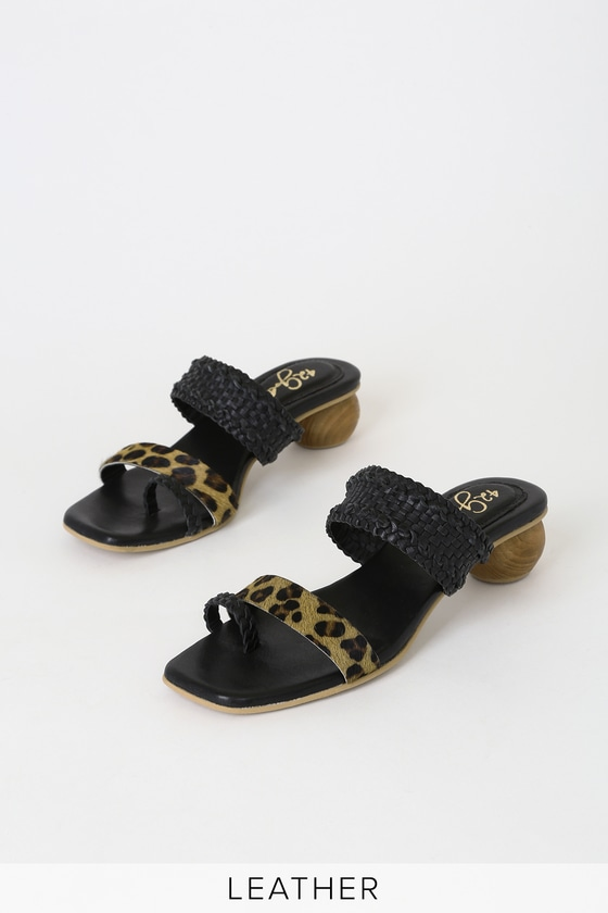 Image of Naya Tan and Black Leopard Pony Hair Slide Sandal Heels - Lulus