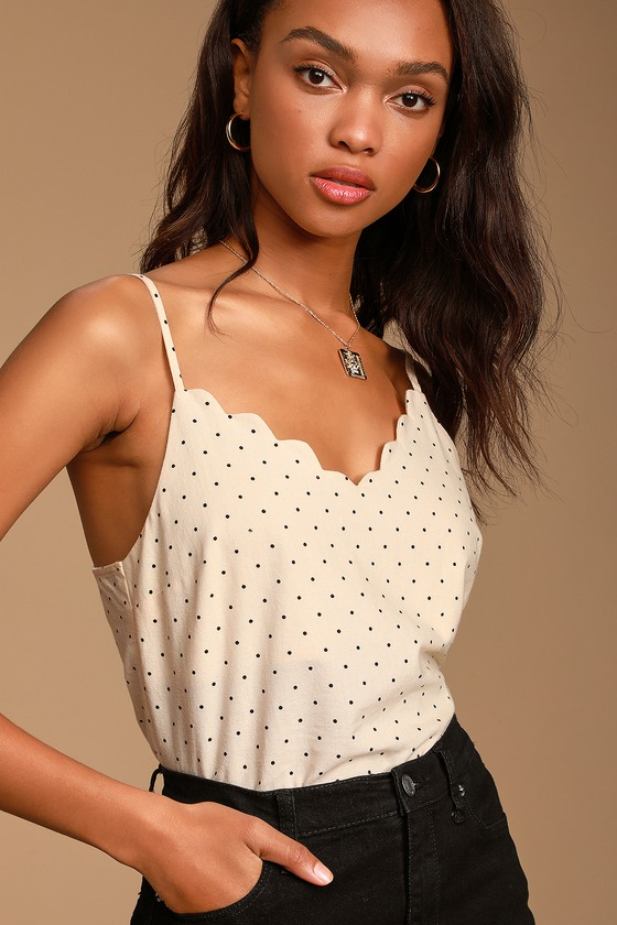 The Sweetest Cream Polka Dot Scalloped Blouse- Cute Polka Dot Outfits