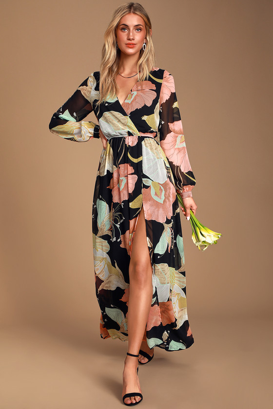 Wondrous Water Lilies Black Floral Print Maxi Dress