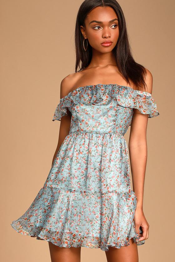 c5f378ec2ed Cute Sky Blue Floral Print Dress - OTS Dress - Skater Dress