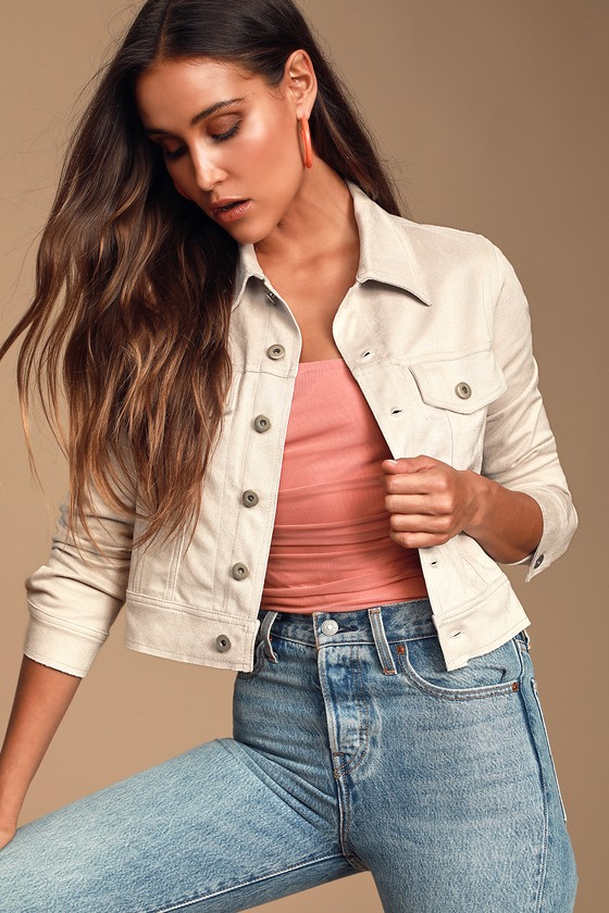 On the Road Light Grey Suede Cropped Jacket