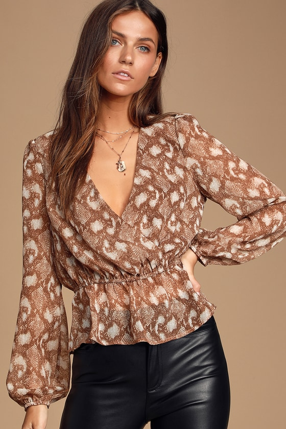 Serrano Tan Snake Print Long Sleeve Peplum Top- Dressy long sleeve