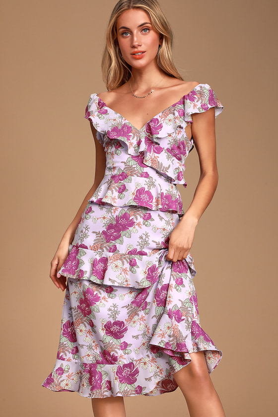 Fleur Evermore Lavender Floral Print Ruffled Midi Dress by Lulus