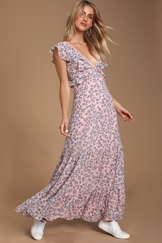 5063878a4d Darling Daydream Blue and Pink Floral Print Ruffled Maxi Dress