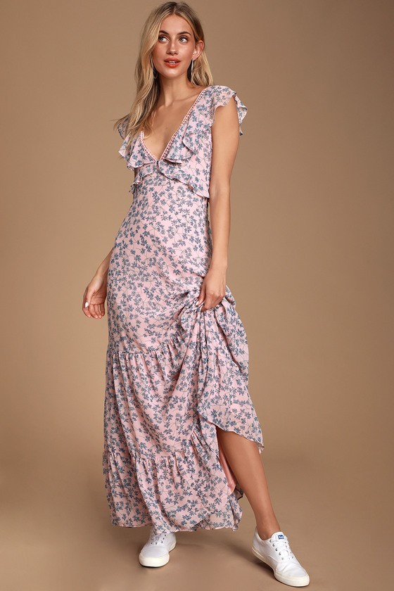 1a181b37a1 Cute Blue and Pink Maxi Dress - Floral Print Maxi - Chiffon Maxi