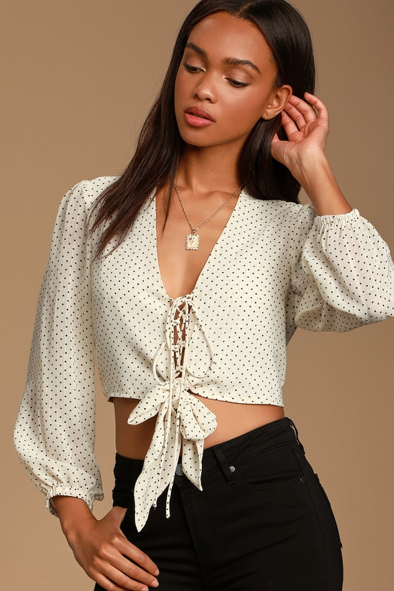 Rowena Cream Polka Dot Tie-Front Blouse - Trendy Polka Dot Outfit