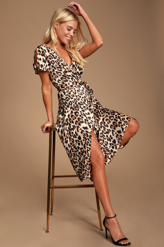 1960s – 70s Cocktail, Party, Prom, Evening Dresses Wild Night Out Taupe Leopard Print Wrap Midi Dress - Lulus $49.00 AT vintagedancer.com