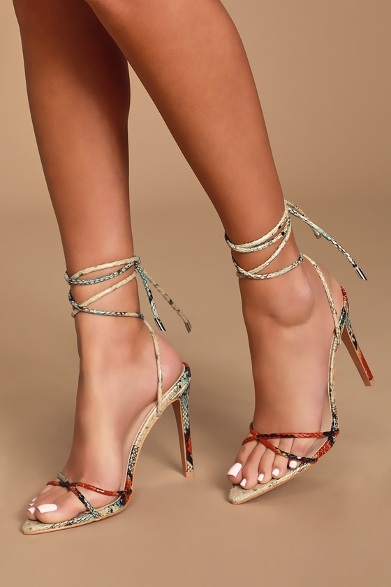 Barleta Multi Snake Lace Up Heels by Lulu's
