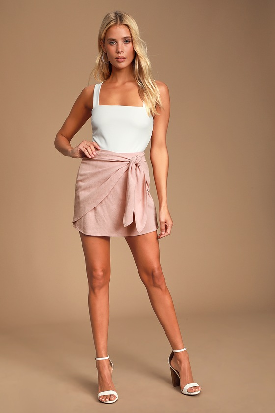 Ayla Blush Pink Tie-Front Mini Skirt