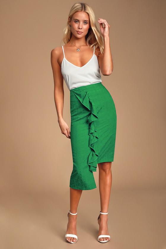dd9e721c2 Chic Green Skirt - Ruffled Skirt - Midi Skirt - Asymmetric Skirt