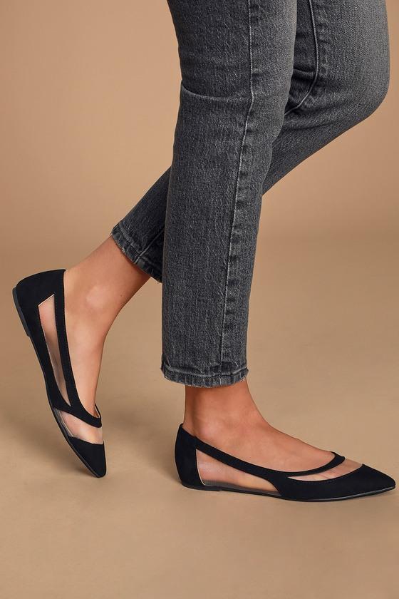 Cute Black Flats - Pointed Toe Flats