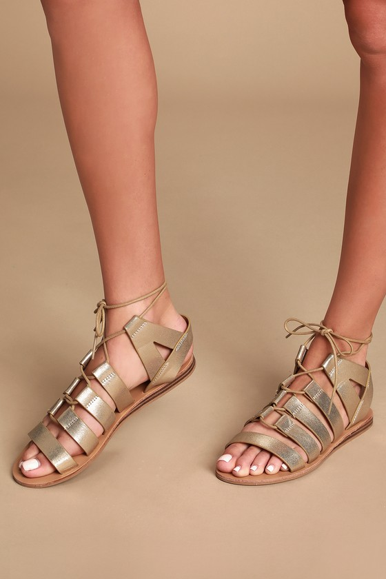 Darlyn Gold Lace Up Sandals Gladiator IYb6gv7fy