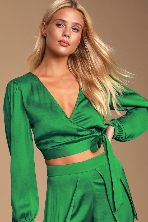Elena Green Satin Long Sleeve Wrap Crop Top by Bardot