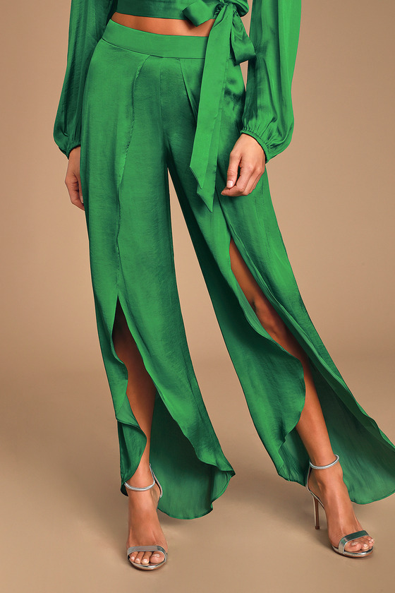 Kaylah Green Satin Tulip Pants by Bardot