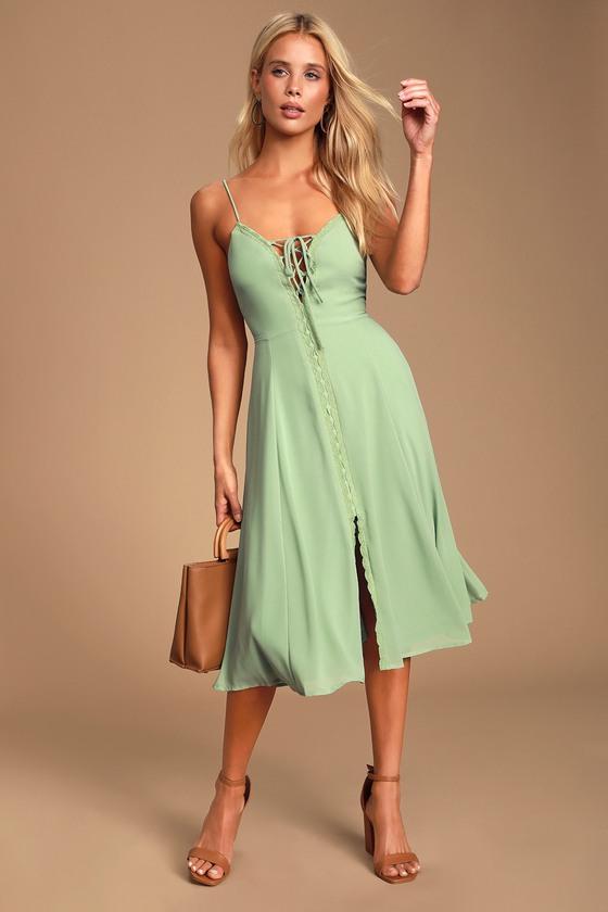 Don't Steal My Sunshine Dusty Sage Lace-Up Midi Dress