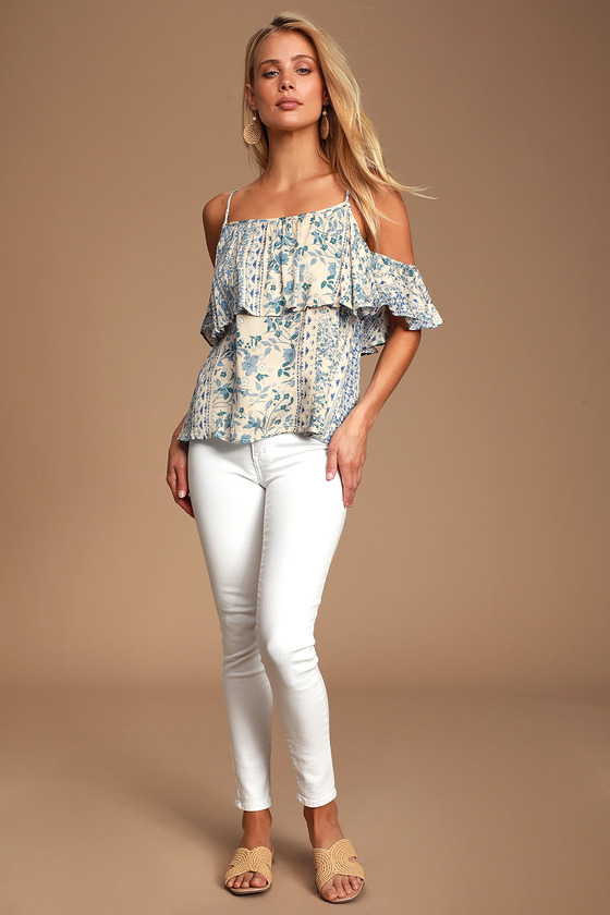 71ee9539195 Lovely Cream and Blue Print Top - Cold Shoulder Top - Blouse