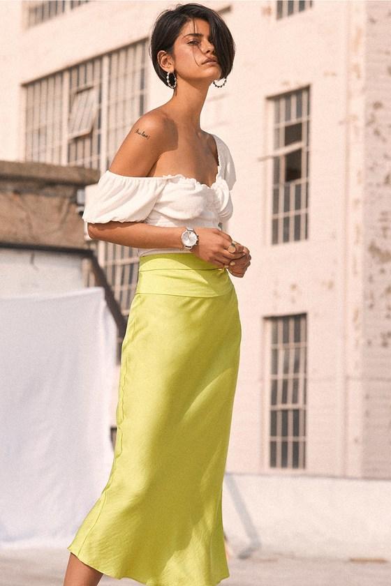 524fc1f07b Free People Normani Bias - Lime Green Skirt - Satin Midi Skirt