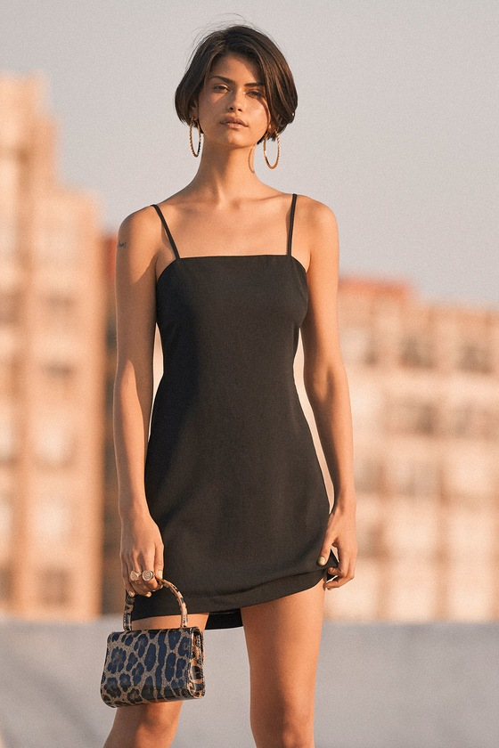 902ecba07fa Cute Black Dress - Mini Dress - Tie-Back Dress - Sheath Dress