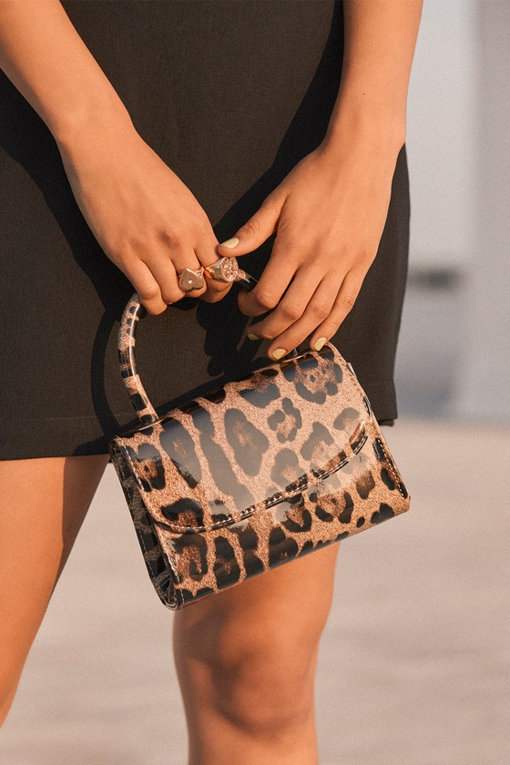 Cassia Leopard Print Patent Mini Bag by Lulus