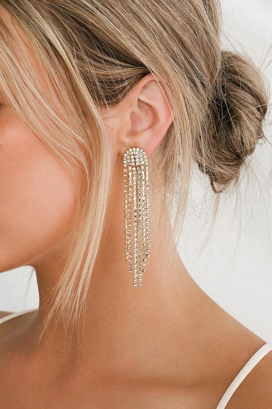 60s -70s Jewelry – Necklaces, Earrings, Rings, Bracelets Glitz Gold Rhinestone Tassel Earrings - Lulus $29.00 AT vintagedancer.com
