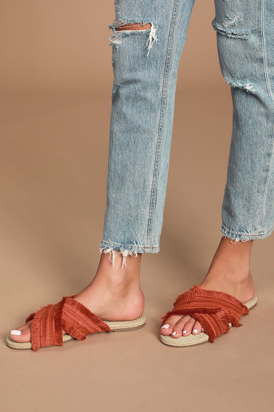 Crevo Monroe Orange Frayed Slide Sandals