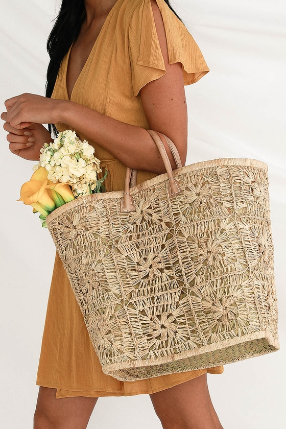 Vintage Wedding Shoes, Flats, Boots, Heels Barela Dark Yellow Woven Straw Basket Tote - Lulus $56.00 AT vintagedancer.com